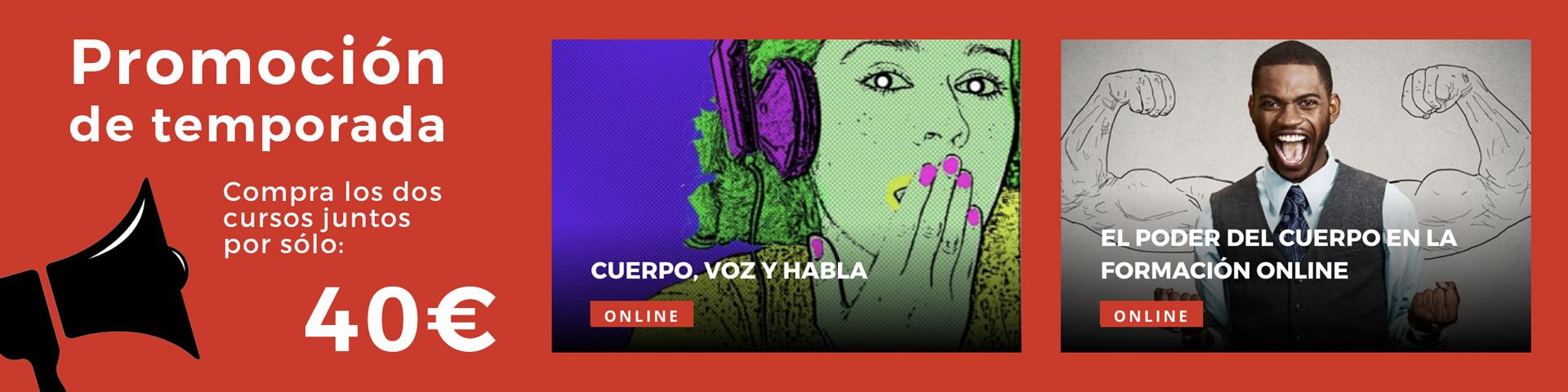 """Banner de Promoción de Talleres Online Ohlavoz - """"El poder del cuerpo en la Formación Online"""" y """"Cuerpo, Voz y Habla"""" por solo 40 euros"""
